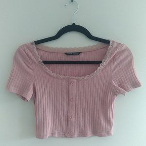 Cropped Lace Trim Top